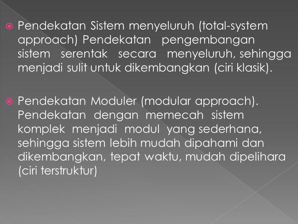  Pendekatan Sistem menyeluruh (total-system approach) Pendekatan pengembangan sistem serentak secara menyeluruh, sehingga menjadi sulit untuk dikemba