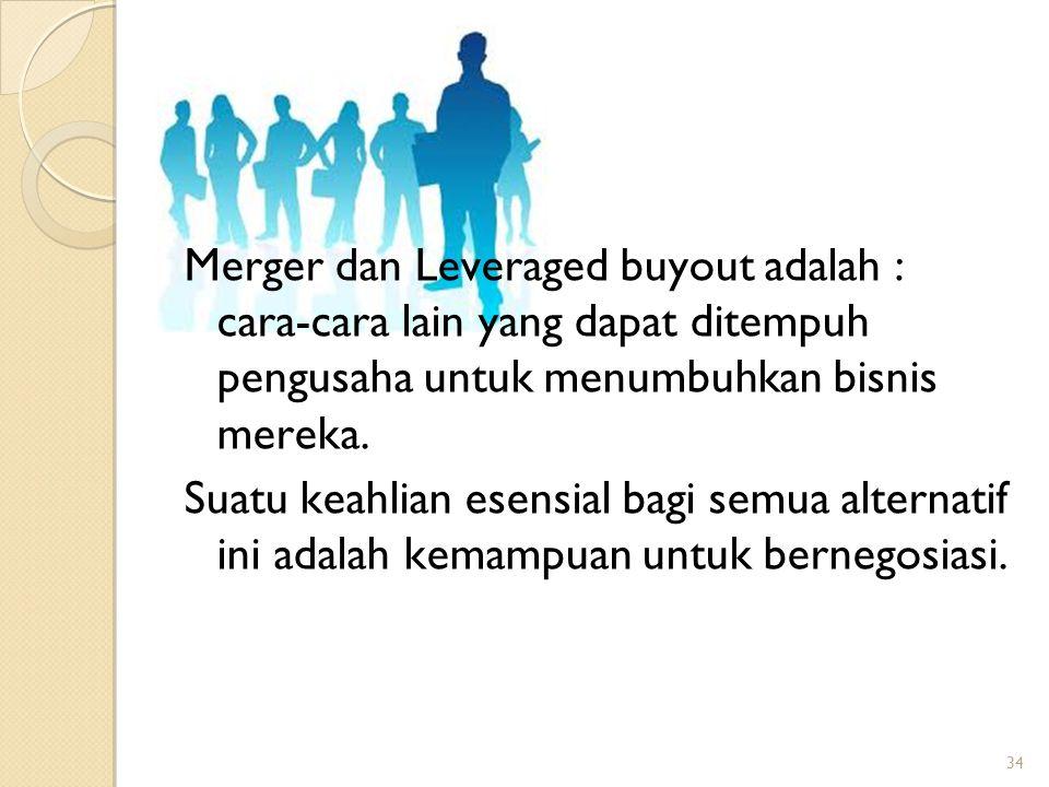 34 Merger dan Leveraged buyout adalah : cara-cara lain yang dapat ditempuh pengusaha untuk menumbuhkan bisnis mereka. Suatu keahlian esensial bagi sem