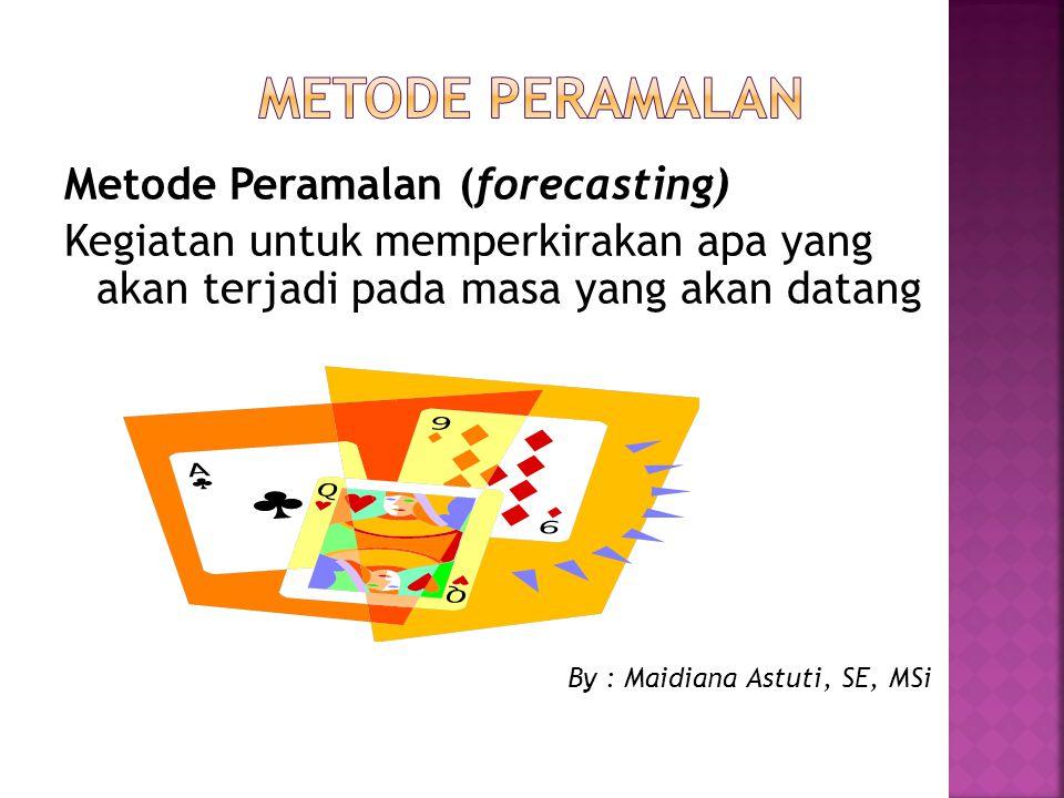 Metode Peramalan (forecasting) Kegiatan untuk memperkirakan apa yang akan terjadi pada masa yang akan datang By : Maidiana Astuti, SE, MSi