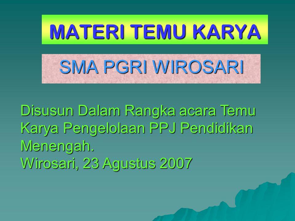 MATERI TEMU KARYA SMA PGRI WIROSARI Disusun Dalam Rangka acara Temu Karya Pengelolaan PPJ Pendidikan Menengah.