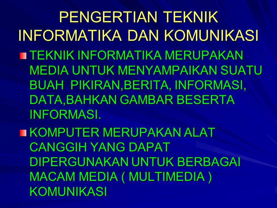 PENGERTIAN TEKNIK INFORMATIKA DAN KOMUNIKASI TEKNIK INFORMATIKA MERUPAKAN MEDIA UNTUK MENYAMPAIKAN SUATU BUAH PIKIRAN,BERITA, INFORMASI, DATA,BAHKAN GAMBAR BESERTA INFORMASI.