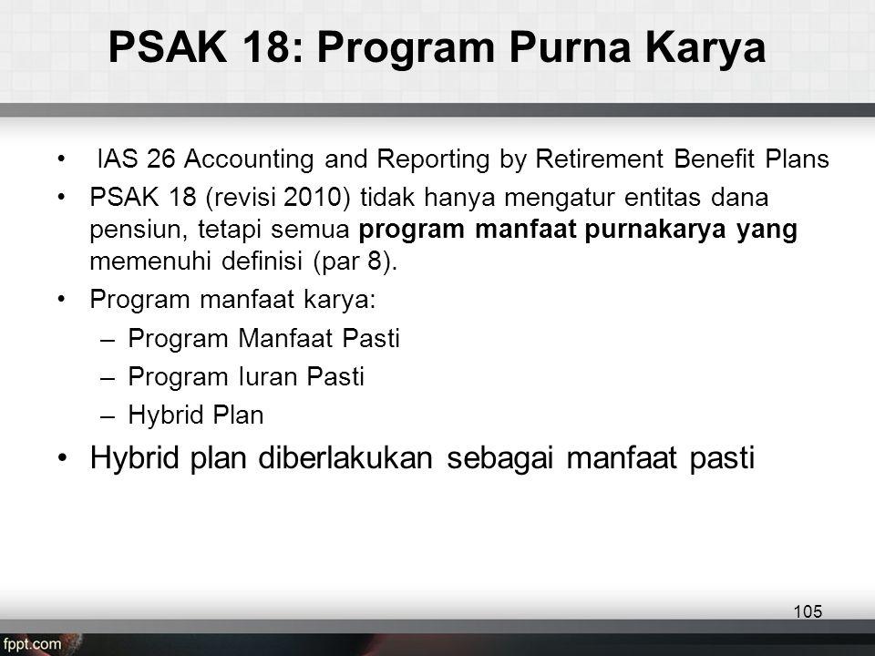 PSAK 18: Program Purna Karya • IAS 26 Accounting and Reporting by Retirement Benefit Plans •PSAK 18 (revisi 2010) tidak hanya mengatur entitas dana pensiun, tetapi semua program manfaat purnakarya yang memenuhi definisi (par 8).