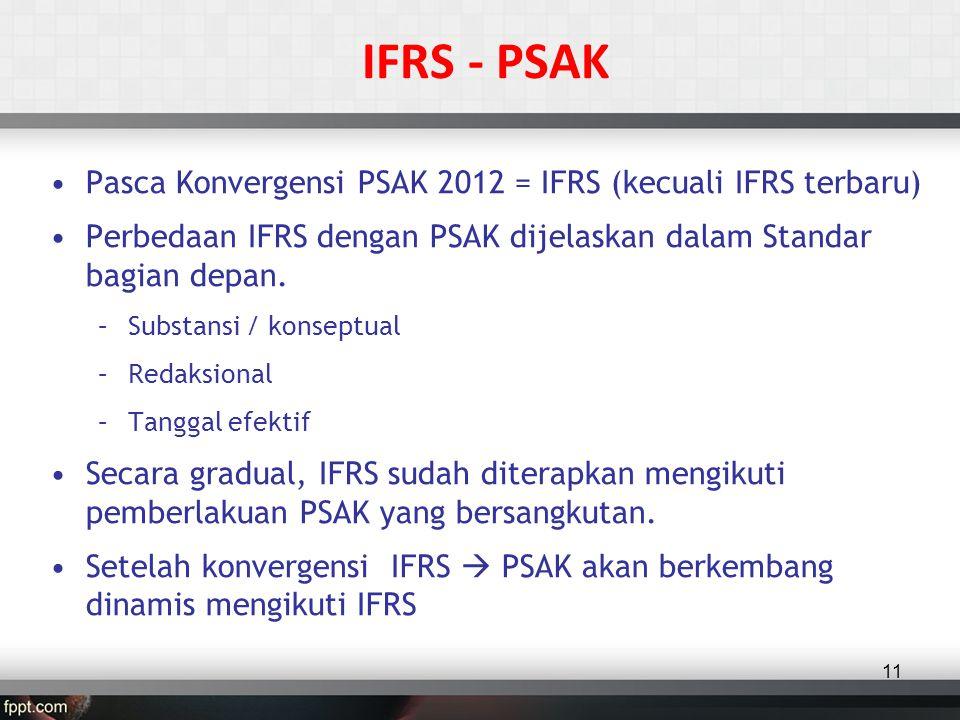 •Pasca Konvergensi PSAK 2012 = IFRS (kecuali IFRS terbaru) •Perbedaan IFRS dengan PSAK dijelaskan dalam Standar bagian depan.