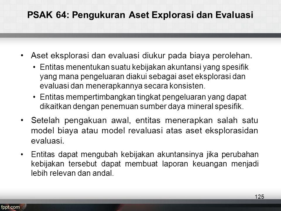 PSAK 64: Pengukuran Aset Explorasi dan Evaluasi •Aset eksplorasi dan evaluasi diukur pada biaya perolehan.