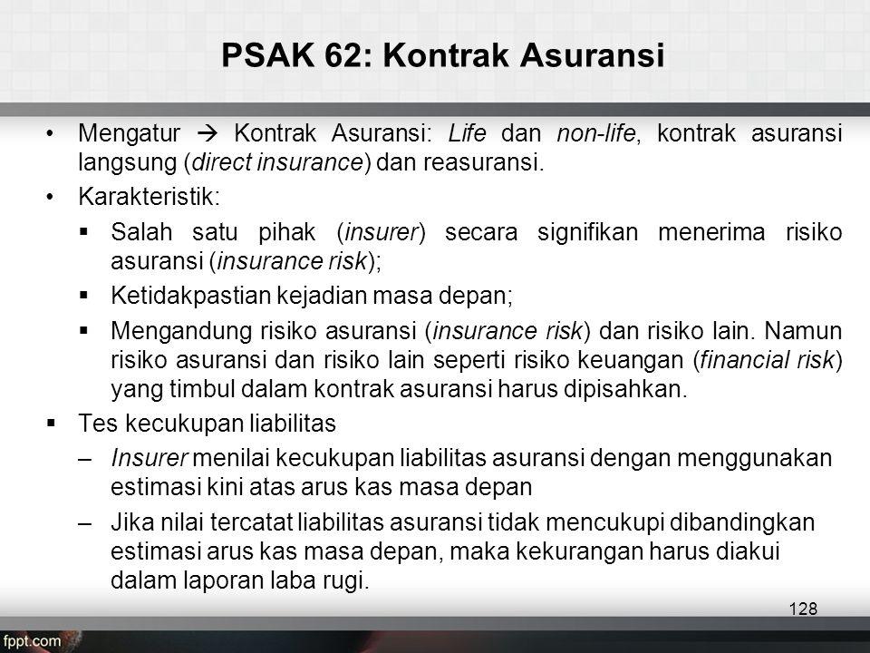PSAK 62: Kontrak Asuransi 128 •Mengatur  Kontrak Asuransi: Life dan non-life, kontrak asuransi langsung (direct insurance) dan reasuransi.