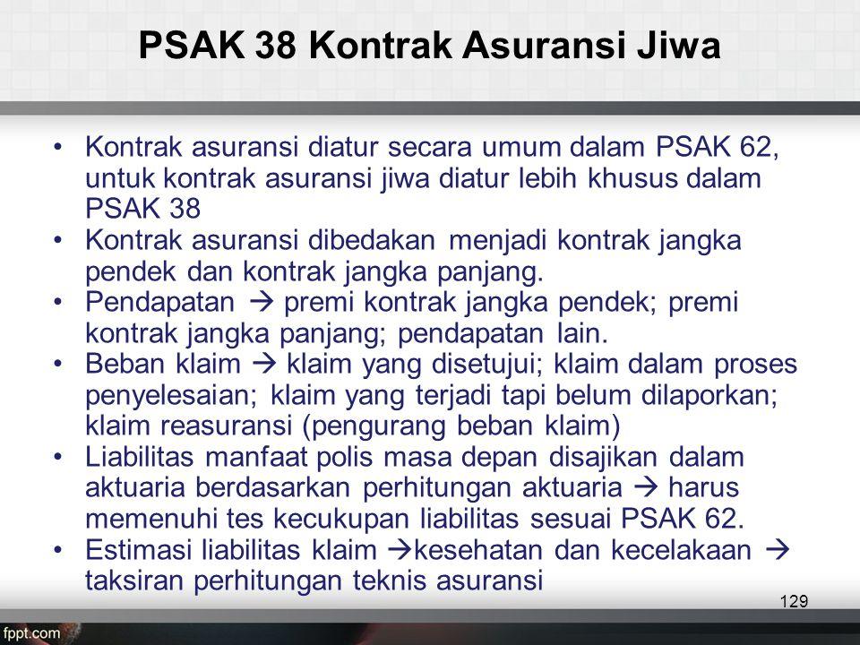 PSAK 38 Kontrak Asuransi Jiwa 129 •Kontrak asuransi diatur secara umum dalam PSAK 62, untuk kontrak asuransi jiwa diatur lebih khusus dalam PSAK 38 •Kontrak asuransi dibedakan menjadi kontrak jangka pendek dan kontrak jangka panjang.
