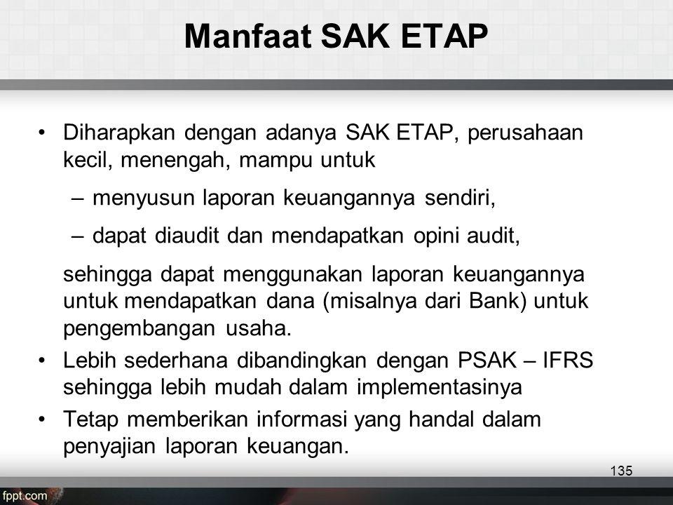 Manfaat SAK ETAP •Diharapkan dengan adanya SAK ETAP, perusahaan kecil, menengah, mampu untuk –menyusun laporan keuangannya sendiri, –dapat diaudit dan mendapatkan opini audit, sehingga dapat menggunakan laporan keuangannya untuk mendapatkan dana (misalnya dari Bank) untuk pengembangan usaha.
