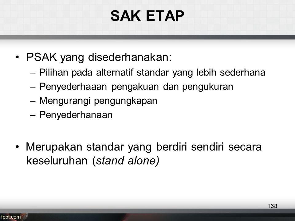 SAK ETAP •PSAK yang disederhanakan: –Pilihan pada alternatif standar yang lebih sederhana –Penyederhaaan pengakuan dan pengukuran –Mengurangi pengungkapan –Penyederhanaan • Merupakan standar yang berdiri sendiri secara keseluruhan (stand alone) 138