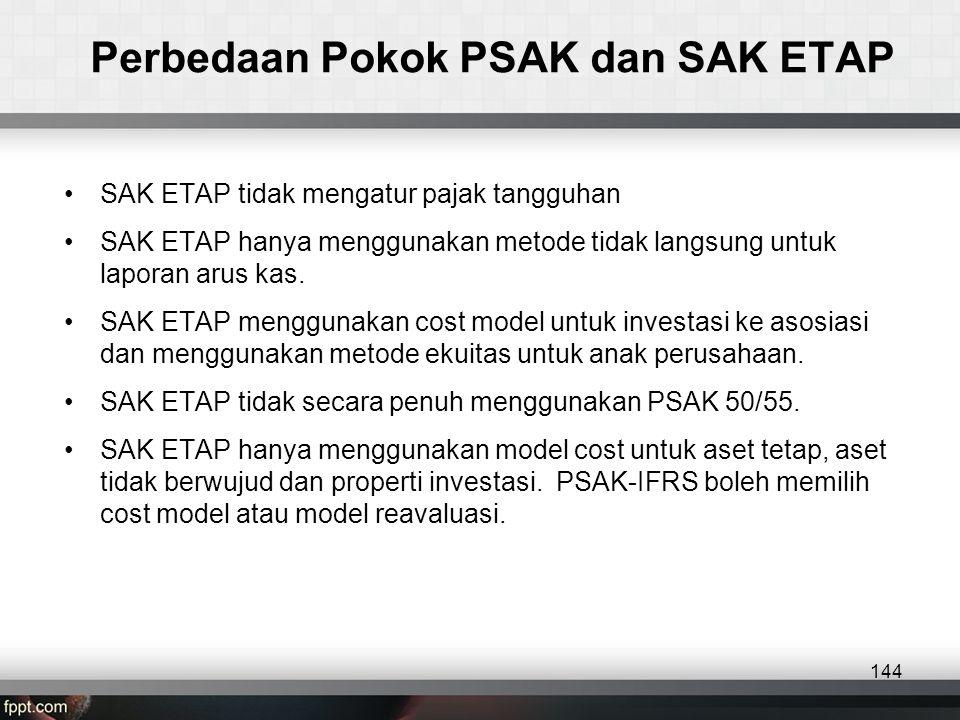 Perbedaan Pokok PSAK dan SAK ETAP •SAK ETAP tidak mengatur pajak tangguhan •SAK ETAP hanya menggunakan metode tidak langsung untuk laporan arus kas.