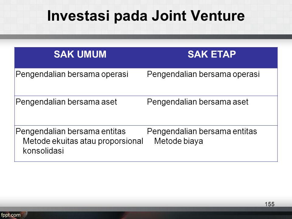 SAK UMUMSAK ETAP Pengendalian bersama operasi Pengendalian bersama aset Pengendalian bersama entitas •Metode ekuitas atau proporsional konsolidasi Pengendalian bersama entitas •Metode biaya Investasi pada Joint Venture 155