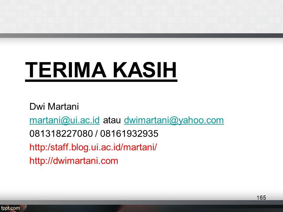 TERIMA KASIH Dwi Martani martani@ui.ac.idmartani@ui.ac.id atau dwimartani@yahoo.comdwimartani@yahoo.com 081318227080 / 08161932935 http:/staff.blog.ui.ac.id/martani/ http://dwimartani.com 165