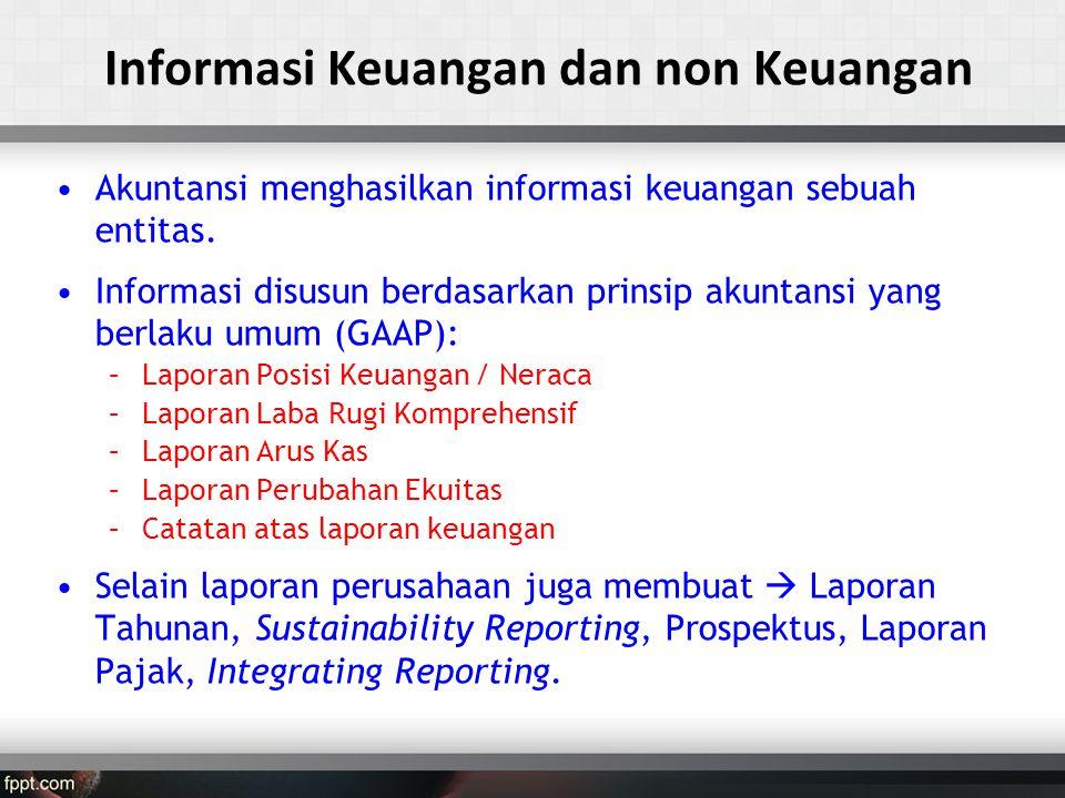 •Akuntansi menghasilkan informasi keuangan sebuah entitas.