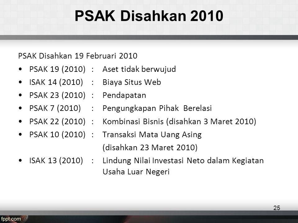 PSAK Disahkan 2010 PSAK Disahkan 19 Februari 2010 •PSAK 19 (2010): Aset tidak berwujud •ISAK 14 (2010): Biaya Situs Web •PSAK 23 (2010): Pendapatan •PSAK 7 (2010): Pengungkapan Pihak Berelasi •PSAK 22 (2010): Kombinasi Bisnis (disahkan 3 Maret 2010) •PSAK 10 (2010): Transaksi Mata Uang Asing (disahkan 23 Maret 2010) •ISAK 13 (2010) : Lindung Nilai Investasi Neto dalam Kegiatan Usaha Luar Negeri 25