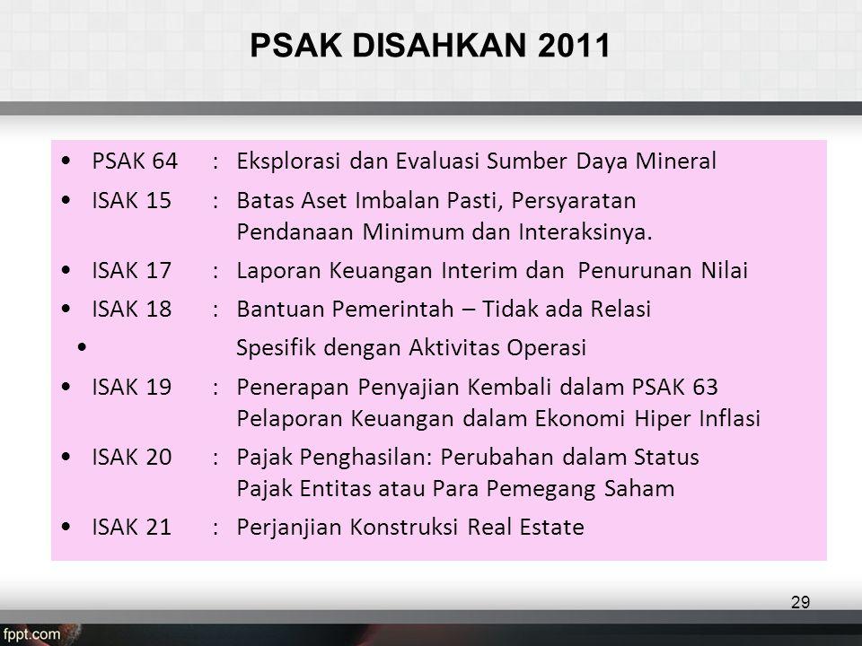 PSAK DISAHKAN 2011 •PSAK 64: Eksplorasi dan Evaluasi Sumber Daya Mineral •ISAK 15: Batas Aset Imbalan Pasti, Persyaratan Pendanaan Minimum dan Interaksinya.