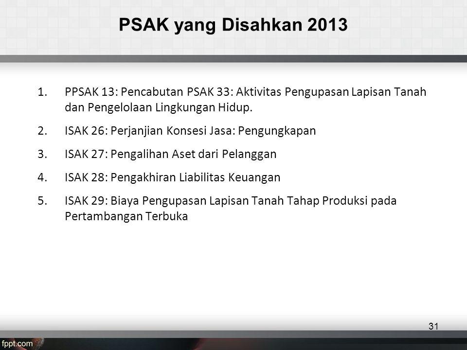PSAK yang Disahkan 2013 1.PPSAK 13: Pencabutan PSAK 33: Aktivitas Pengupasan Lapisan Tanah dan Pengelolaan Lingkungan Hidup.