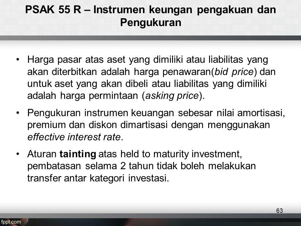 •Harga pasar atas aset yang dimiliki atau liabilitas yang akan diterbitkan adalah harga penawaran(bid price) dan untuk aset yang akan dibeli atau liabilitas yang dimiliki adalah harga permintaan (asking price).
