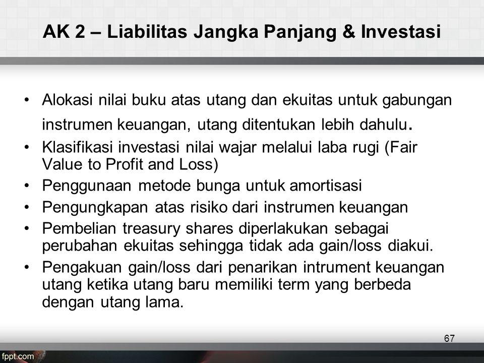 AK 2 – Liabilitas Jangka Panjang & Investasi •Alokasi nilai buku atas utang dan ekuitas untuk gabungan instrumen keuangan, utang ditentukan lebih dahulu.