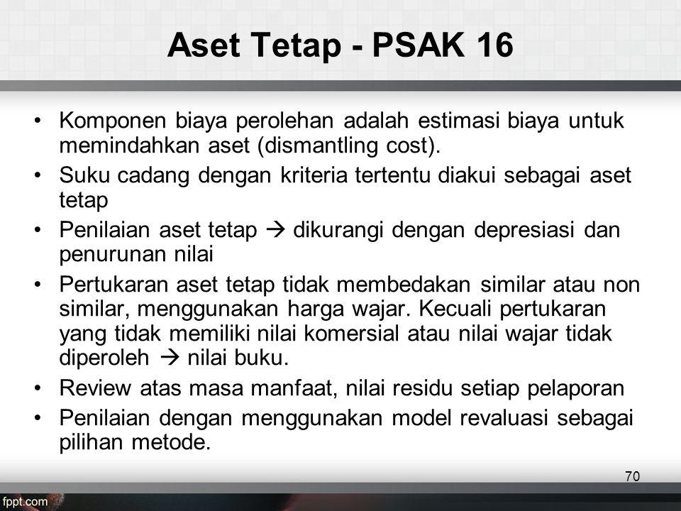 Aset Tetap - PSAK 16 •Komponen biaya perolehan adalah estimasi biaya untuk memindahkan aset (dismantling cost).