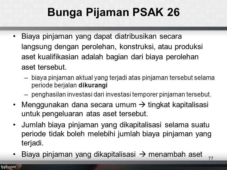 Bunga Pijaman PSAK 26 •Biaya pinjaman yang dapat diatribusikan secara langsung dengan perolehan, konstruksi, atau produksi aset kualifikasian adalah bagian dari biaya perolehan aset tersebut.