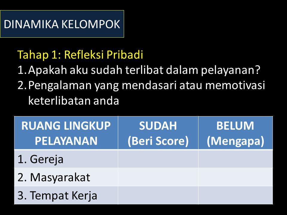 DINAMIKA KELOMPOK RUANG LINGKUP PELAYANAN SUDAH (Beri Score) BELUM (Mengapa) 1.