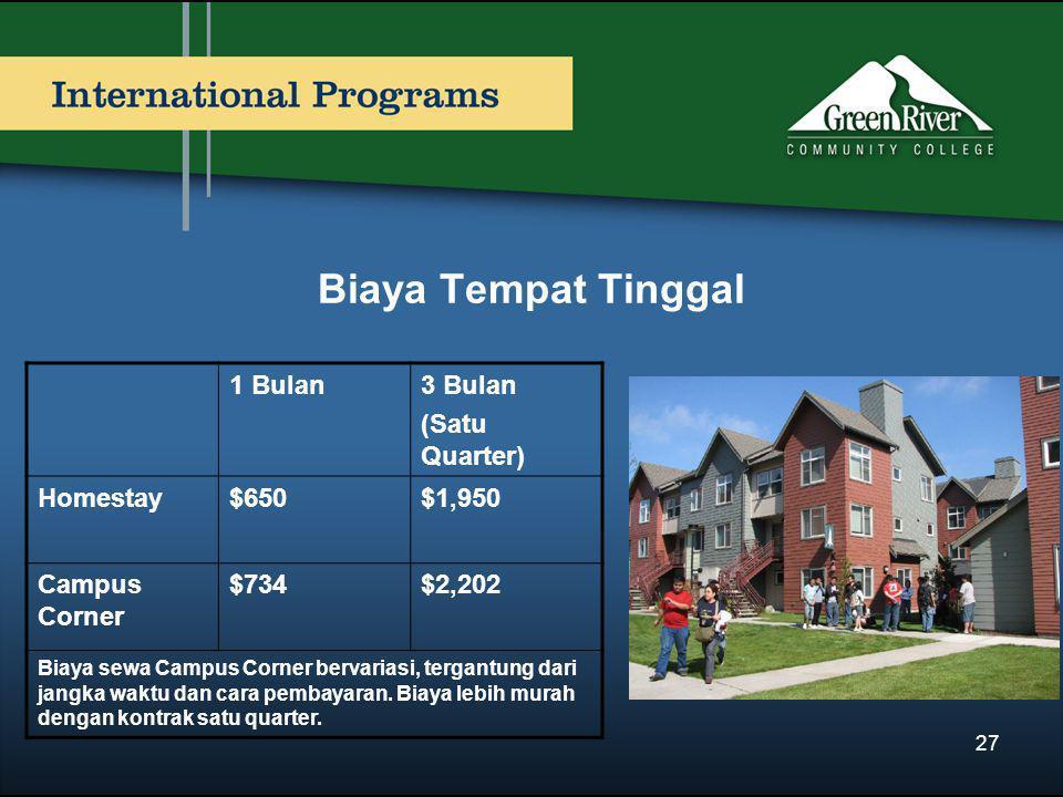 Biaya Tempat Tinggal 1 Bulan3 Bulan (Satu Quarter) Homestay$650$1,950 Campus Corner $734$2,202 Biaya sewa Campus Corner bervariasi, tergantung dari jangka waktu dan cara pembayaran.