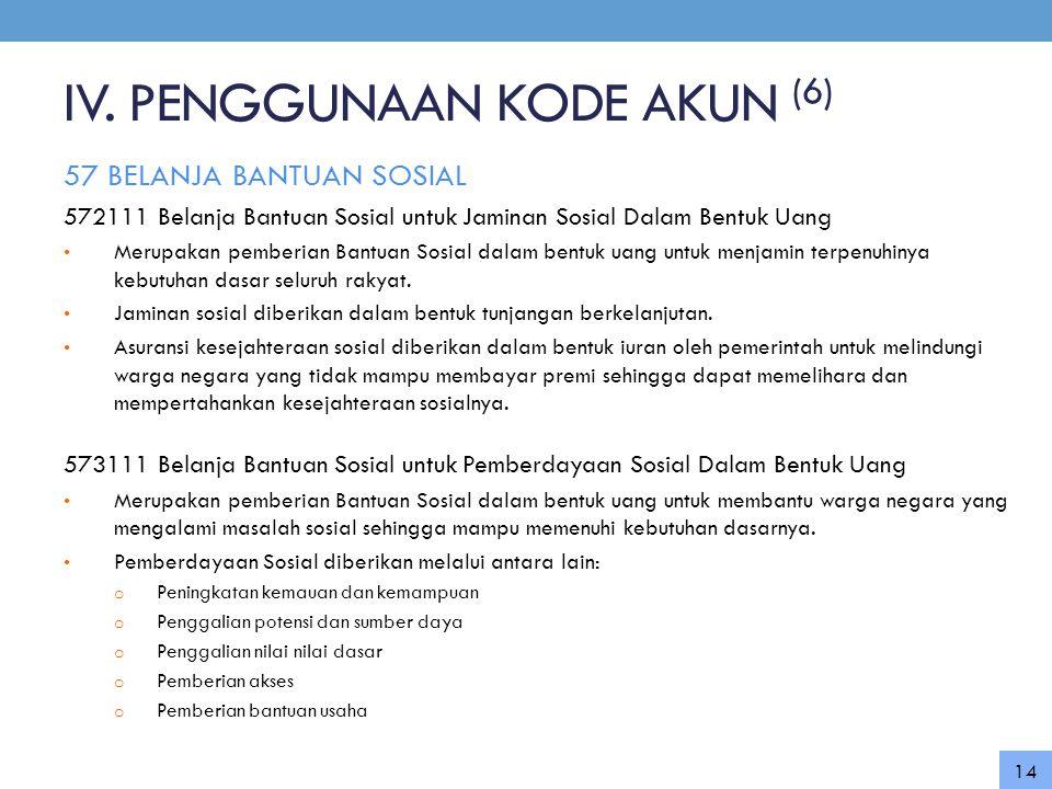 IV. PENGGUNAAN KODE AKUN (6) 57 BELANJA BANTUAN SOSIAL 572111 Belanja Bantuan Sosial untuk Jaminan Sosial Dalam Bentuk Uang • Merupakan pemberian Bant