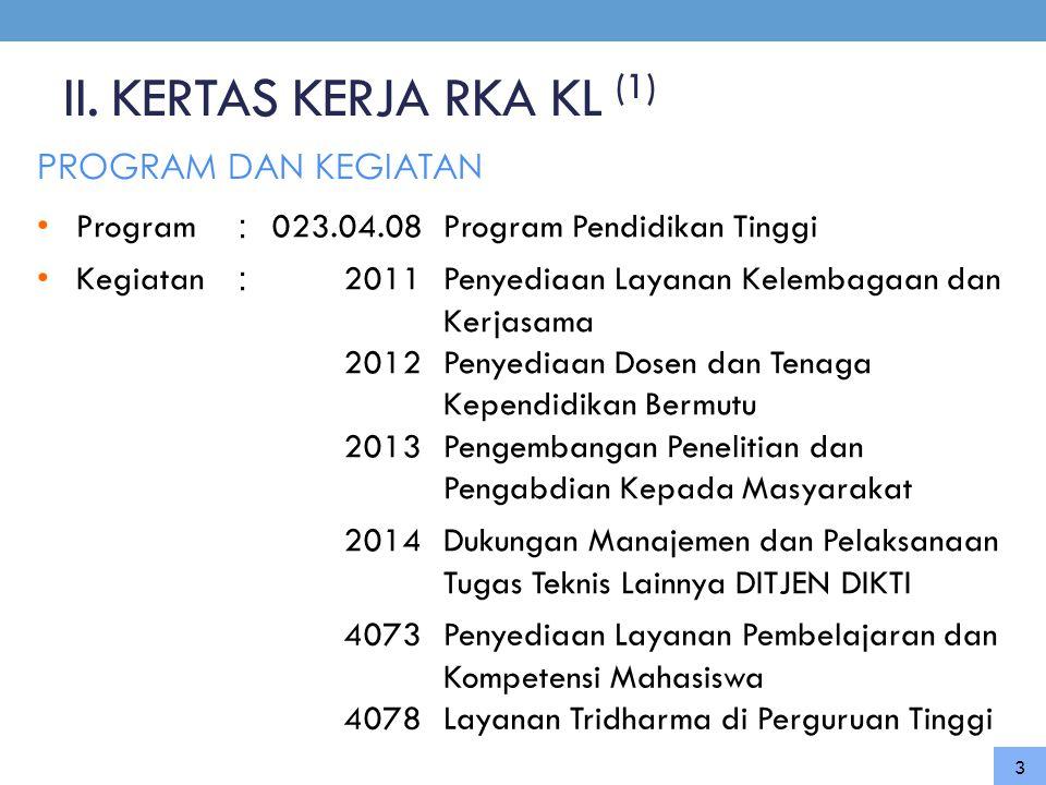 II. KERTAS KERJA RKA KL (1) PROGRAM DAN KEGIATAN 3 • Program : 023.04.08Program Pendidikan Tinggi • Kegiatan : 2011 2012 2013 Penyediaan Layanan Kelem