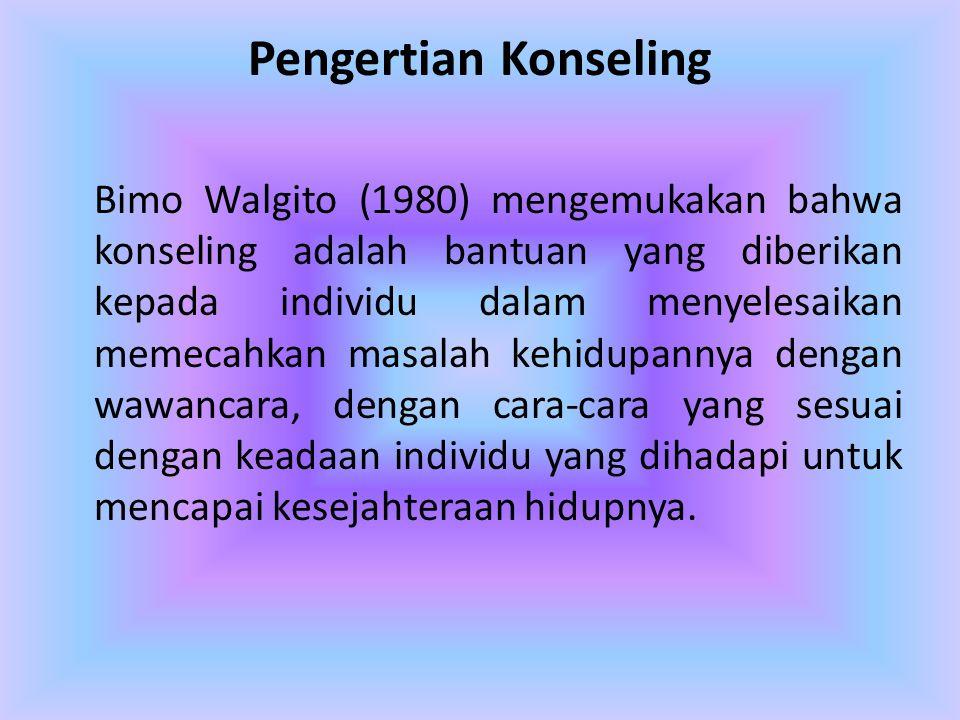 Pengertian Konseling Bimo Walgito (1980) mengemukakan bahwa konseling adalah bantuan yang diberikan kepada individu dalam menyelesaikan memecahkan mas
