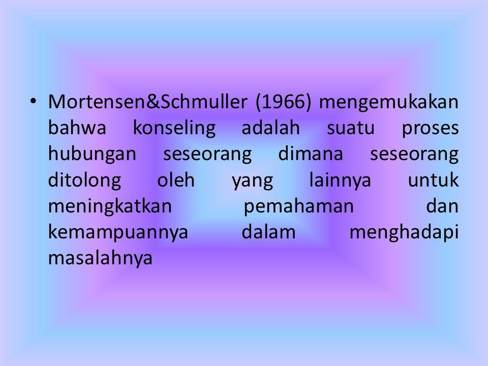 • Mortensen&Schmuller (1966) mengemukakan bahwa konseling adalah suatu proses hubungan seseorang dimana seseorang ditolong oleh yang lainnya untuk men