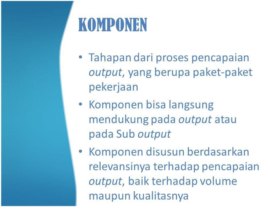 KOMPONEN • Tahapan dari proses pencapaian output, yang berupa paket-paket pekerjaan • Komponen bisa langsung mendukung pada output atau pada Sub outpu