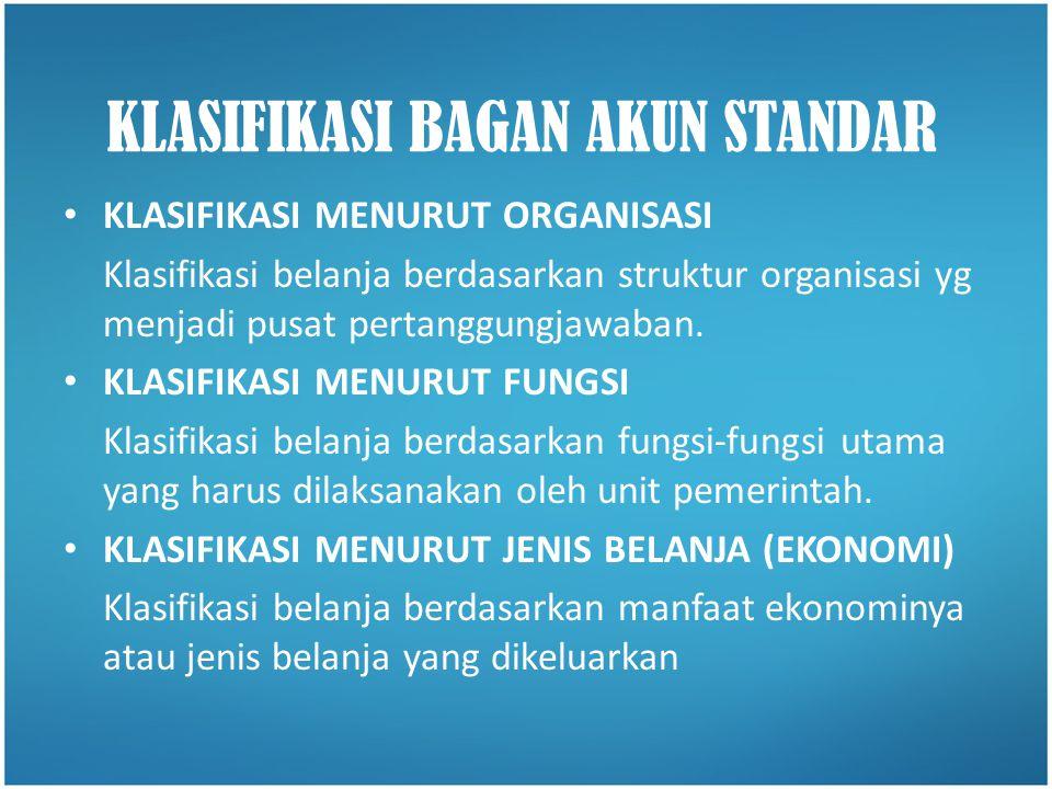 • KLASIFIKASI MENURUT ORGANISASI Klasifikasi belanja berdasarkan struktur organisasi yg menjadi pusat pertanggungjawaban. • KLASIFIKASI MENURUT FUNGSI