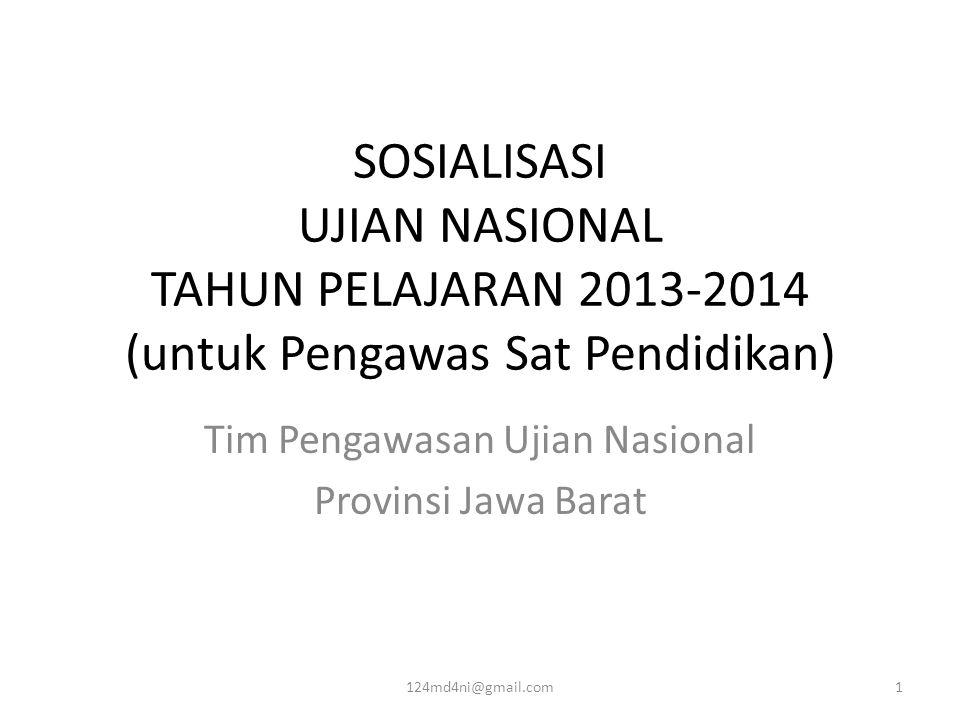 SOSIALISASI UJIAN NASIONAL TAHUN PELAJARAN 2013-2014 (untuk Pengawas Sat Pendidikan) Tim Pengawasan Ujian Nasional Provinsi Jawa Barat 124md4ni@gmail.