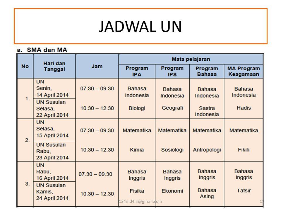 JADWAL UN 124md4ni@gmail.com11
