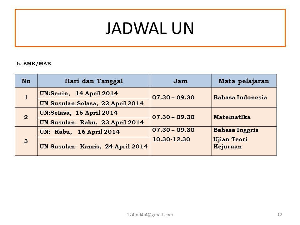JADWAL UN NoHari dan TanggalJamMata pelajaran 1 UN:Senin, 14 April 2014 07.30 – 09.30Bahasa Indonesia UN Susulan:Selasa, 22 April 2014 2 UN:Selasa, 15