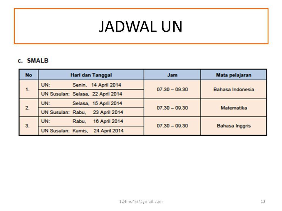 JADWAL UN 124md4ni@gmail.com13
