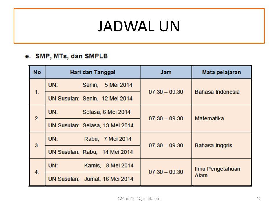 JADWAL UN 124md4ni@gmail.com15