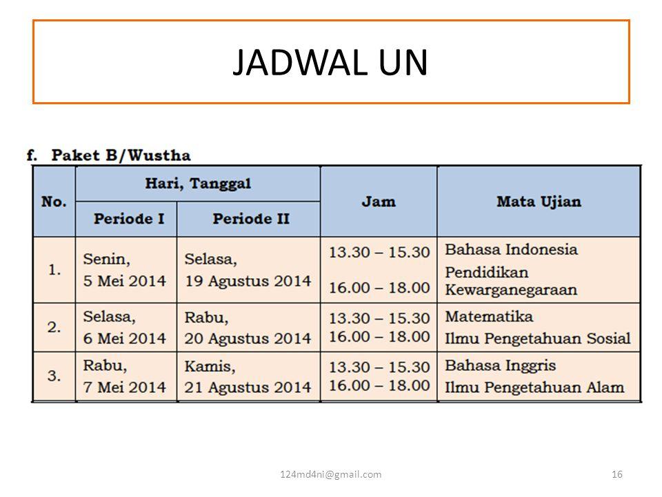 JADWAL UN 124md4ni@gmail.com16