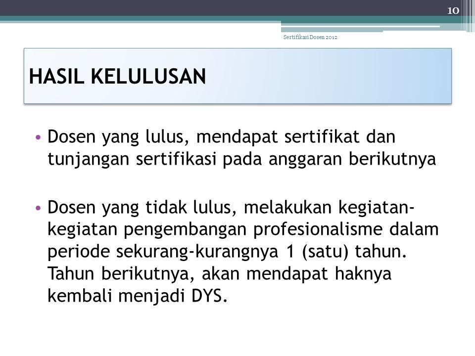 HASIL KELULUSAN • Dosen yang lulus, mendapat sertifikat dan tunjangan sertifikasi pada anggaran berikutnya • Dosen yang tidak lulus, melakukan kegiata