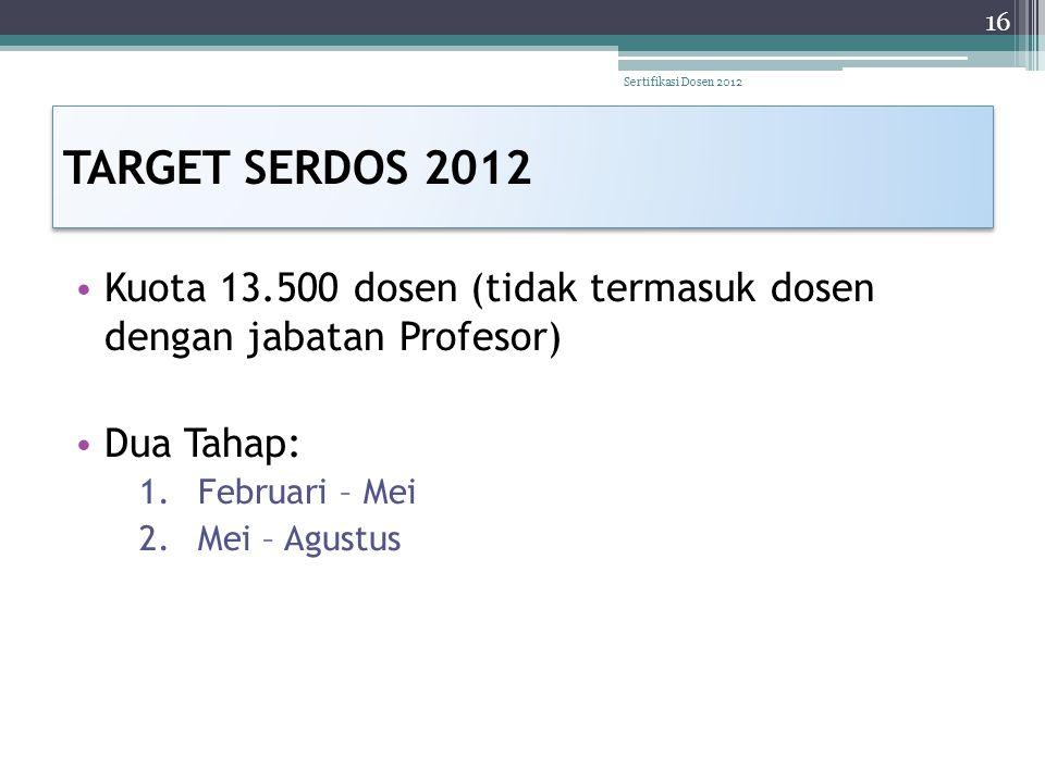 TARGET SERDOS 2012 • Kuota 13.500 dosen (tidak termasuk dosen dengan jabatan Profesor) • Dua Tahap: 1.Februari – Mei 2.Mei – Agustus 16 Sertifikasi Do