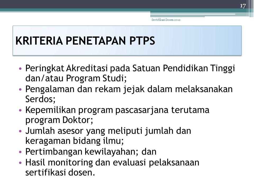 KRITERIA PENETAPAN PTPS • Peringkat Akreditasi pada Satuan Pendidikan Tinggi dan/atau Program Studi; • Pengalaman dan rekam jejak dalam melaksanakan S