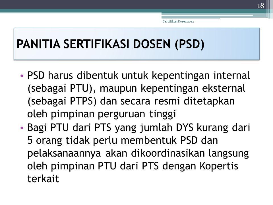 PANITIA SERTIFIKASI DOSEN (PSD) • PSD harus dibentuk untuk kepentingan internal (sebagai PTU), maupun kepentingan eksternal (sebagai PTPS) dan secara