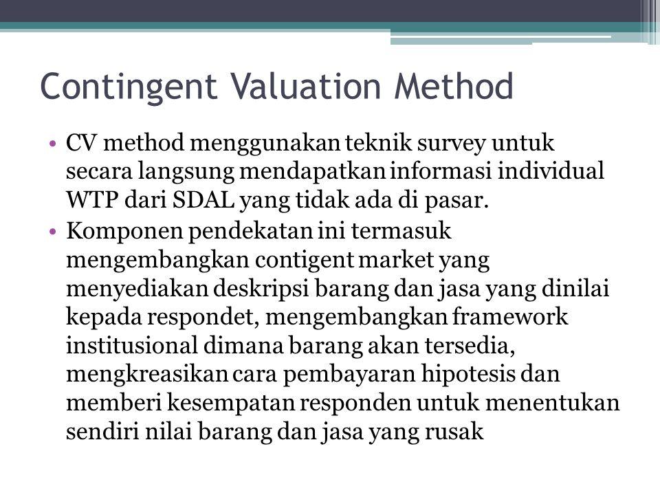 Contingent Valuation Method •CV method menggunakan teknik survey untuk secara langsung mendapatkan informasi individual WTP dari SDAL yang tidak ada d