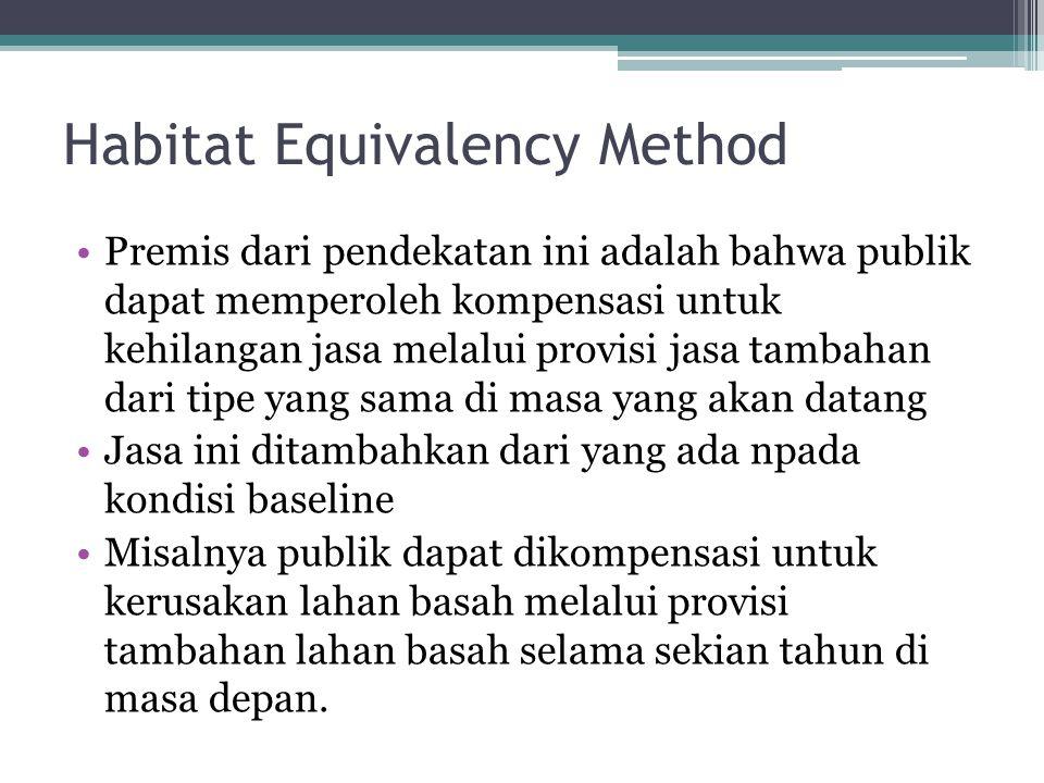 Habitat Equivalency Method •Premis dari pendekatan ini adalah bahwa publik dapat memperoleh kompensasi untuk kehilangan jasa melalui provisi jasa tamb