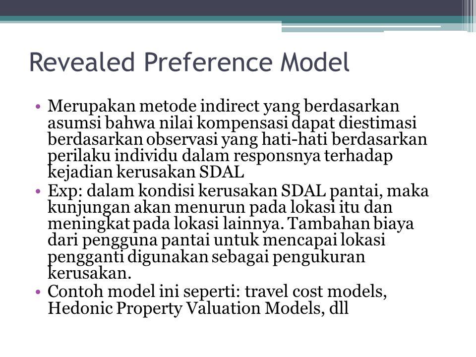 Revealed Preference Model •Merupakan metode indirect yang berdasarkan asumsi bahwa nilai kompensasi dapat diestimasi berdasarkan observasi yang hati-h