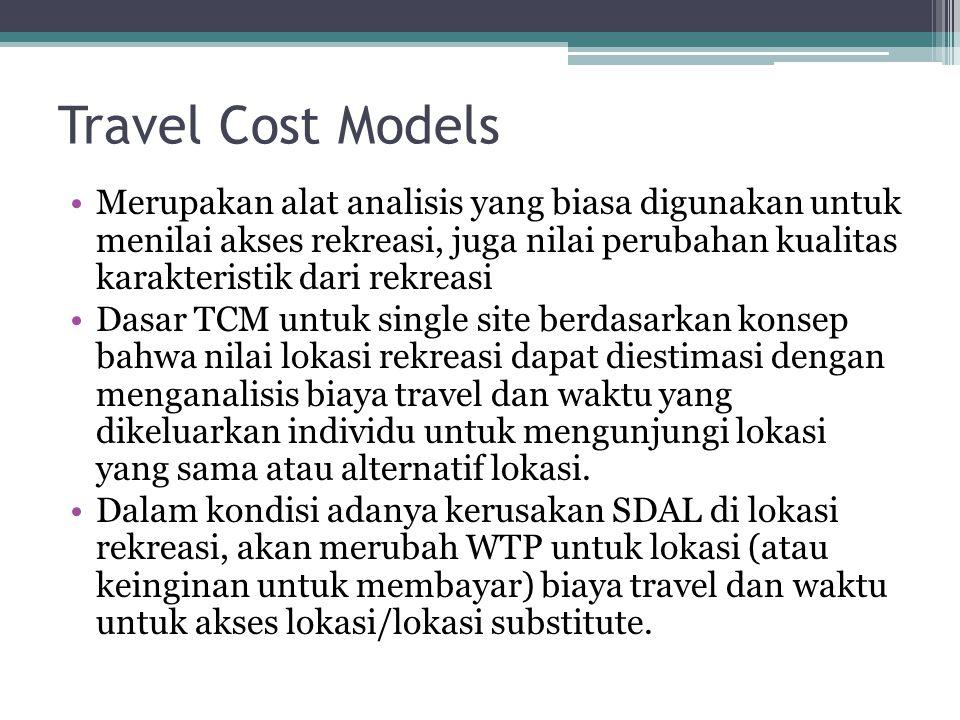 Travel Cost Models •Merupakan alat analisis yang biasa digunakan untuk menilai akses rekreasi, juga nilai perubahan kualitas karakteristik dari rekrea
