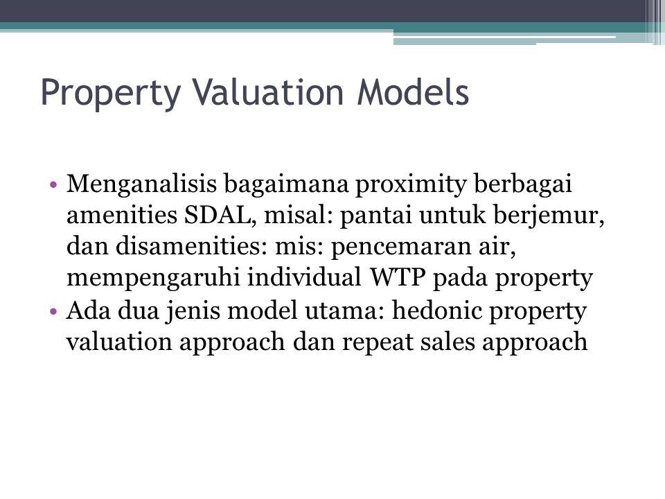 Property Valuation Models •Hedonic property valuation meliputi pemanfaatan data cross section dari karakteristik rumah untuk setiap rumah pada suatu given area disuatu waktu (mis, data ukuran, jumlah kamar, adanya landfill kota, dll), analisis regresi digunakan untuk menentukan kontribusi setiap faktor pada harga jual.
