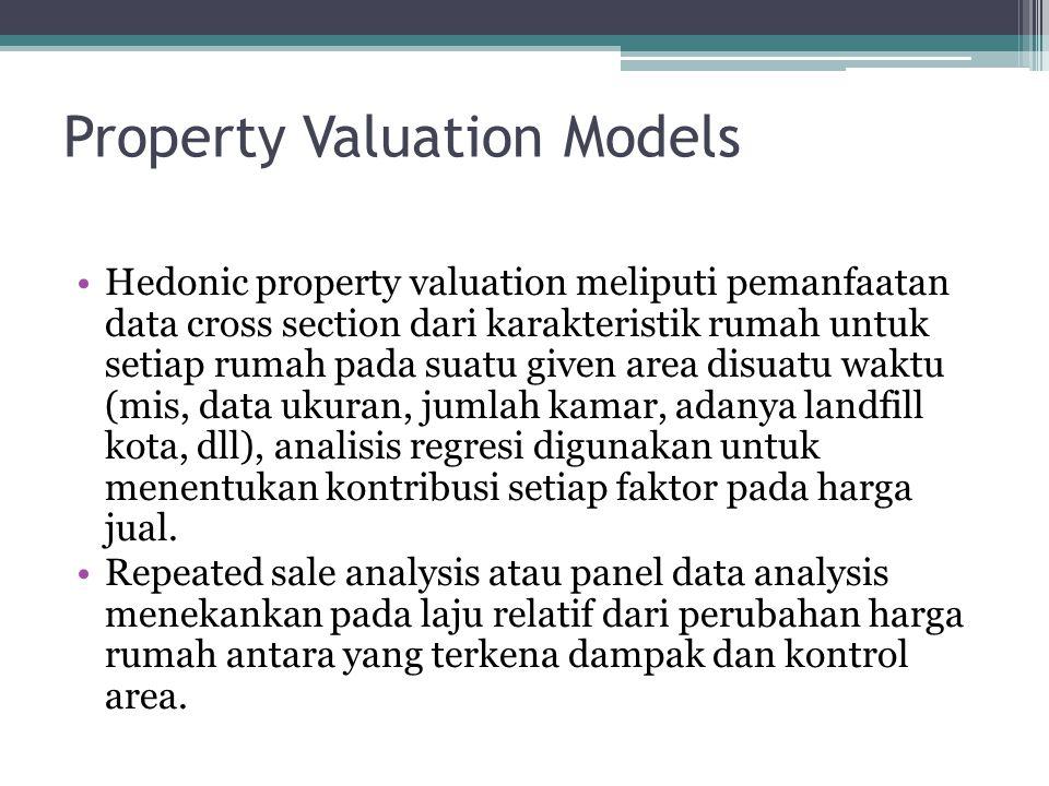 Property Valuation Models •Hedonic property valuation meliputi pemanfaatan data cross section dari karakteristik rumah untuk setiap rumah pada suatu g