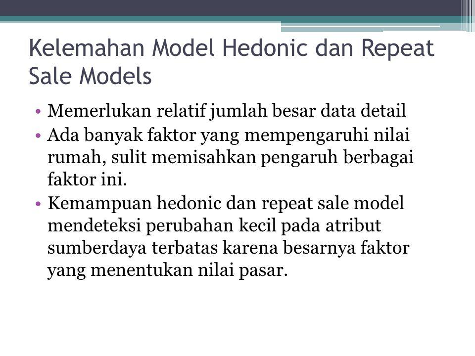 Kelemahan Model Hedonic dan Repeat Sale Models •Memerlukan relatif jumlah besar data detail •Ada banyak faktor yang mempengaruhi nilai rumah, sulit me