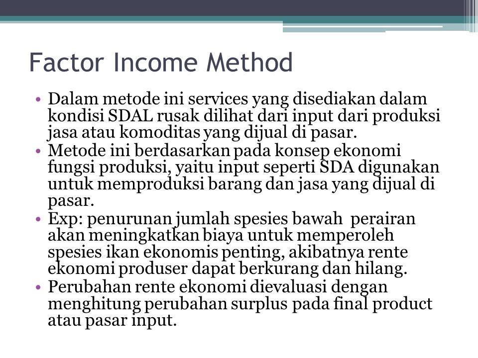 Factor Income Method •Pendekatan factor income method hanya dapat digunakan pada kondisi dimana nilai primer dari sumberdaya yang rusak mempengaruhi biaya produksi SDAL yang lebih tinggi nilainya.