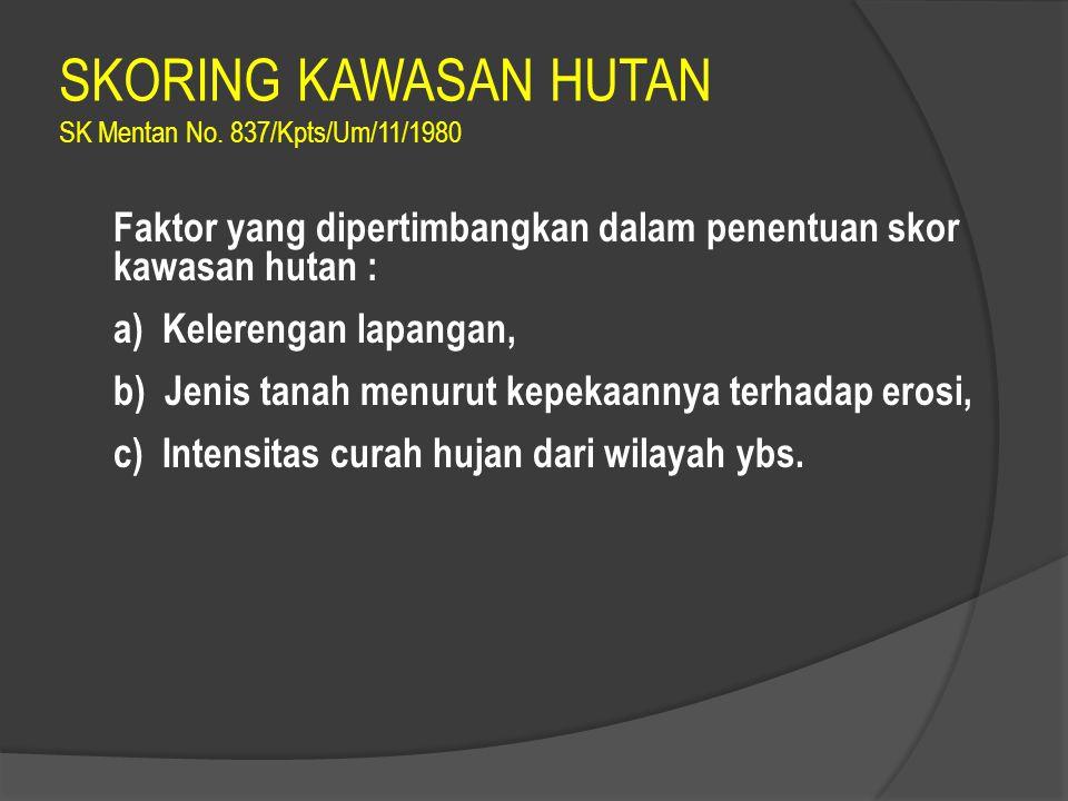 SKORING KAWASAN HUTAN SK Mentan No.